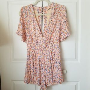 Free People leafy romper with pockets